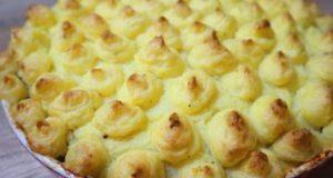 Картофель с фаршем, грибами и моцареллой