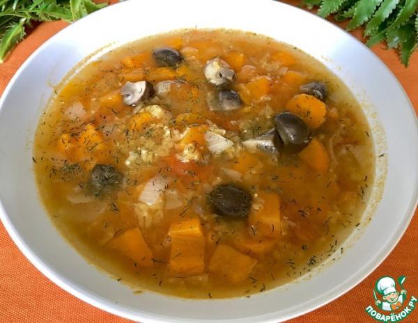 Суп с красной чечевицей и шампиньонами