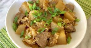 Блюдо из дайкона с мясом