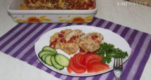 Мясо гармошкой с сыром и помидорами