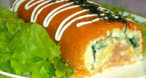 Нежный салат-рулет с семгой