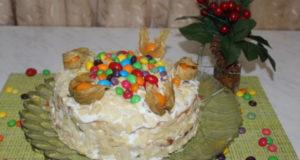 Торт сметанник с мандариновым джемом