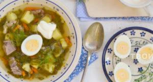 Суп зеленый с языком