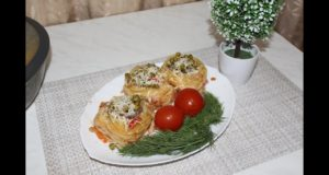 Гнезда с фаршем и зеленым горошком