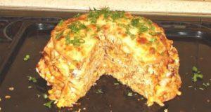 Мясной торт из тортильи