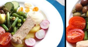 Салат с тунцом спаржевой фасолью картофелем