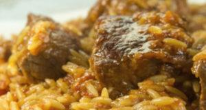 Говядина с итальянской пастой орзо