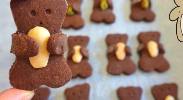 Шоколадное печенье мишка с орехом ( идея для деток )