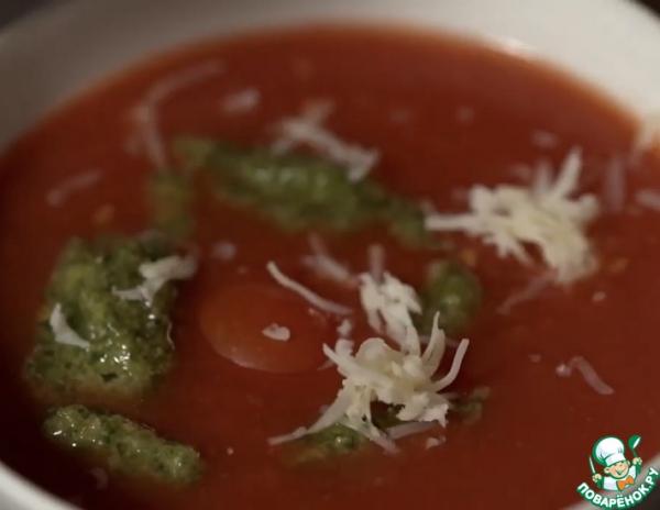 Томатный суп-пюре с домашним песто