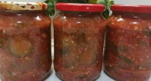 Салат из огурцов в томатном соусе на зиму