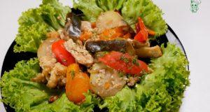 Овощи с мясом запеченные в рукаве