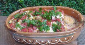 Запеканка с перцем помидорами и брынзой