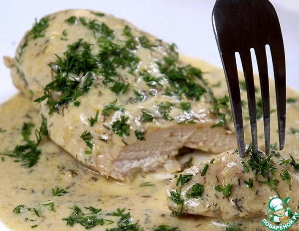 Куриная грудка в сливочно-лимонном соусе