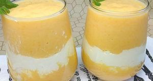 Десерт с персиками и творогом