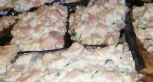 Баклажаны с творожным сыром кешью и ветчиной