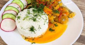 Хек с рисом и овощами