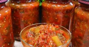 Лечо на зиму с баклажанами помидорами и перцем