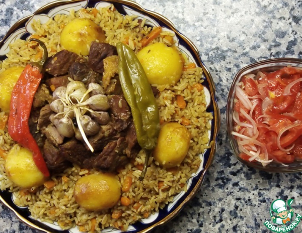 ПЛОВ с картошкой по-узбекски салат АЧЧИК-ЧУЧУК