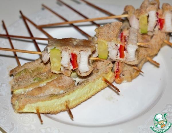 Шашлык в духовке из курицы и овощей