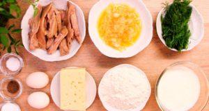 Ленивый заливной пирог с сыром и мясом