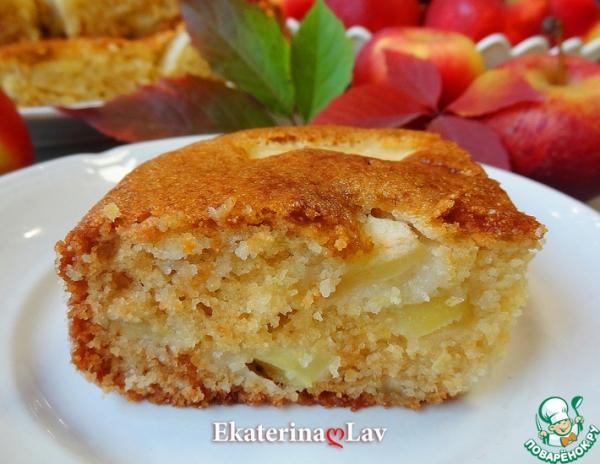 Яблочный пирог без яиц на кефире