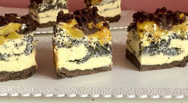 Творожно-маковый пирог с персиками