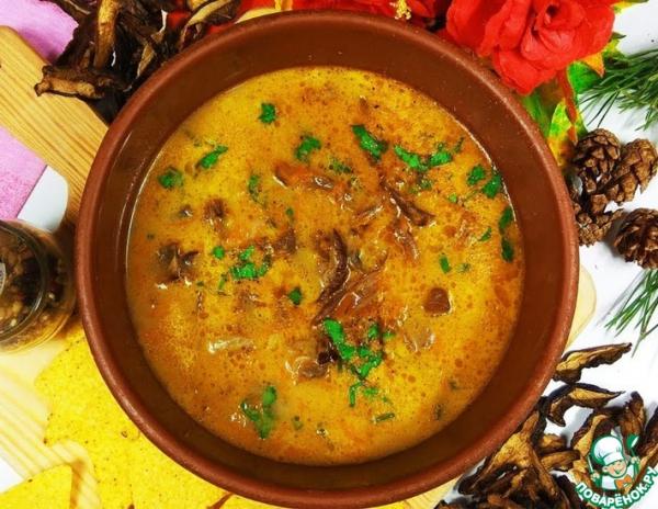 Суп по-закарпатски с сухими грибами