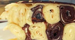Шоколадно-ванильный блинный торт