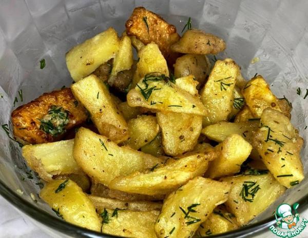 Картофель в кляре с чесноком и укропом