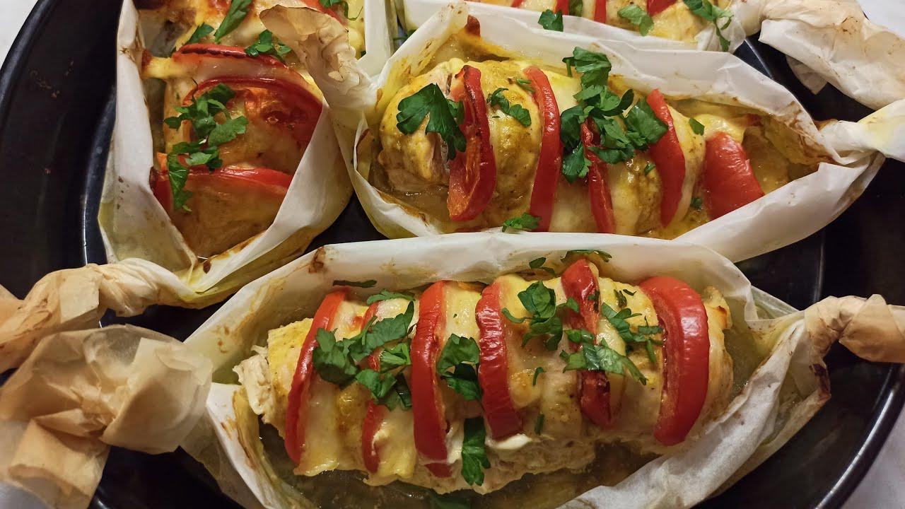 Куриное филе Гармошка с сыром и помидорами