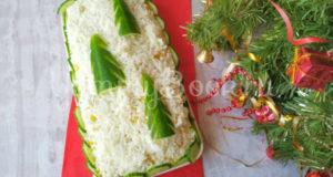 Праздничный салат с курицей Елочки в снегу