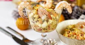 Оливье с семгой и креветками
