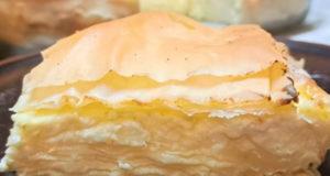 Сладкий слоёный пирог с творогом и тестом фило