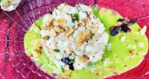 Белая рыба с соусом Зеленый горошек