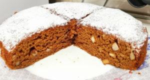 Постный кофейный пирог с орехами