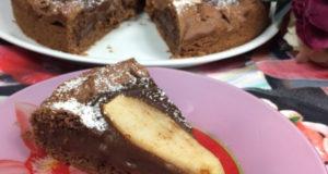 Шоколадная Кростата с кремом и грушей