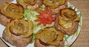 Мясные котлеты с картофельными розочками в духовке