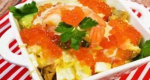 Праздничный салат с морепродуктами