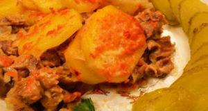 Картофель запечённый с куриными желудочками