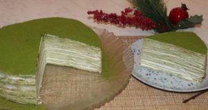 Японский блинный торт с зеленым чаем матча
