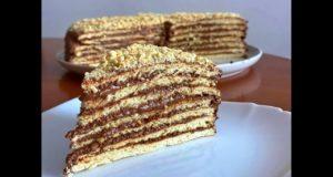Торт «Микадо» с шоколадно-арахисовым кремом