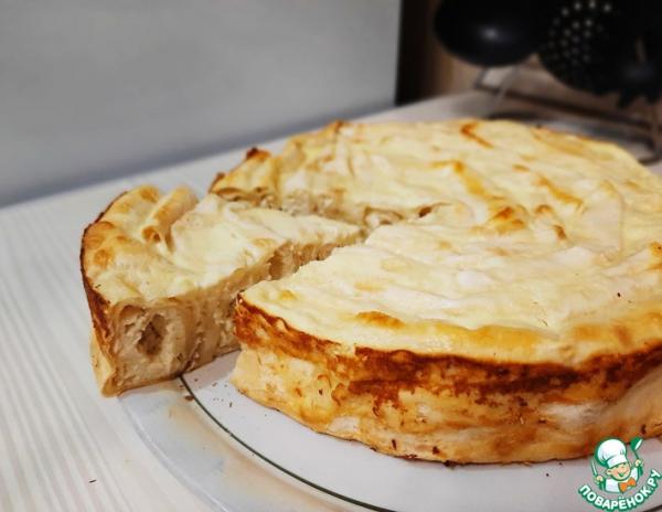 Пирог с творожно-банановой начинкой