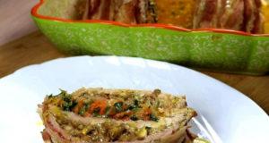 Слоёный мясной рулет с начинкой