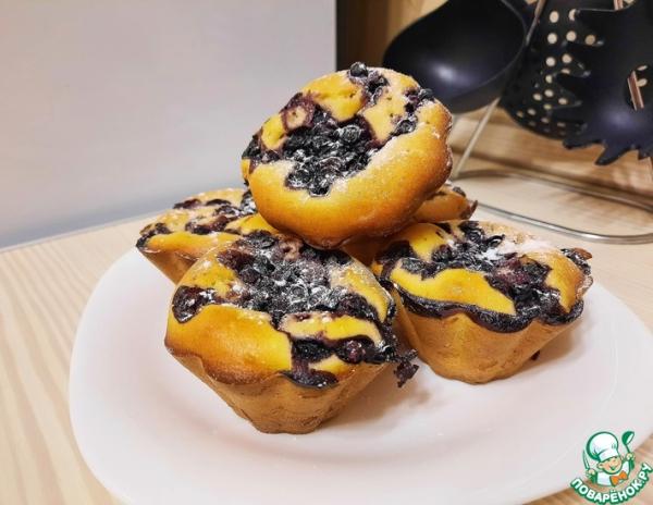 Кексы на кефире с черникой