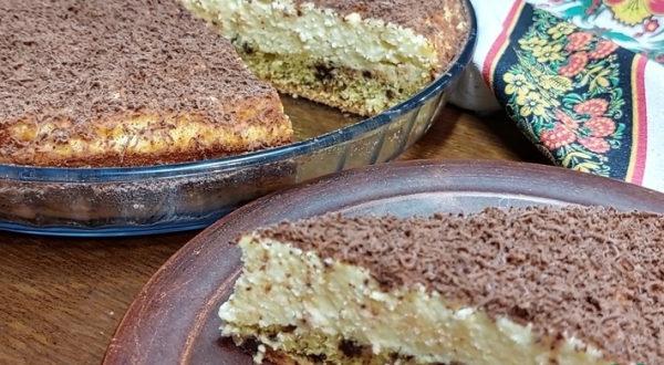 Творожный пирог наоборот с шоколадом