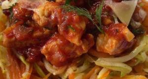 Паста из овощей с куриным филе