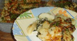 Картофель со шпинатом и сыром