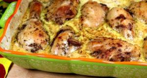 Курица запеченная с соусом и грибами