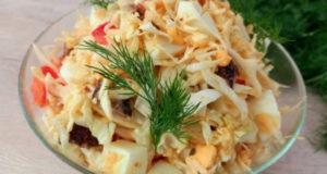 Салат из свежей капусты с говядиной и помидорами