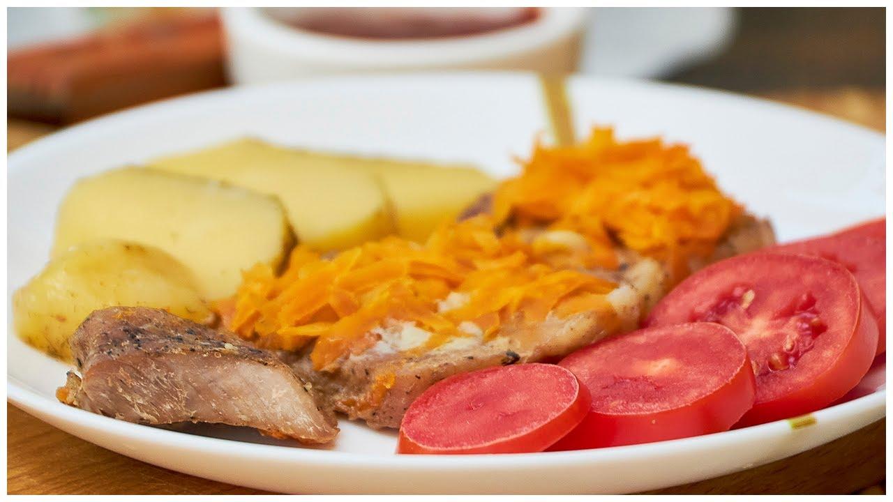 Свинина под подушкой из морковки